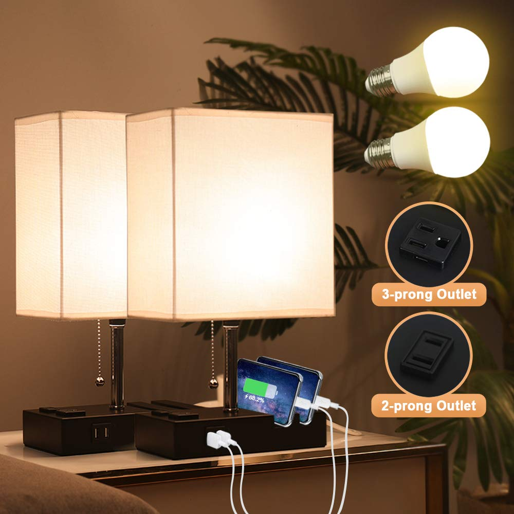 Lifeholder Bedside Lamps With 2 Phone Stands Table Lamp Include 2 Warm Led Bulbs Nightstand Lamp