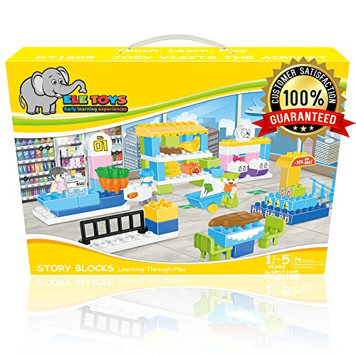 Ele Toys Interlocking Building Block Sets Fun amp Educational – Compatible with Other Large Building Bricks – Each Set Includes a Unique Story Joey Visits The Airport