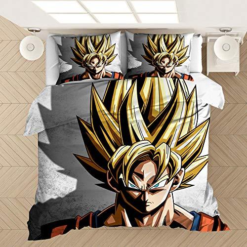 Zyttao Super Saiyan Goku Funda nórdica con patrón de impresión 3D, un Regalo Favorito para niños, Adolescentes y la Mejor Ropa de Cama para Decorar el Dormitorio-7_230 * 260 cm (3 Piezas)