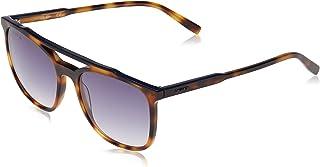نظارة شمسية بنمط افياتور - سترايبس اند بابينج - بتصميم مخطط للرجال من لاكوست، لون اسود مات