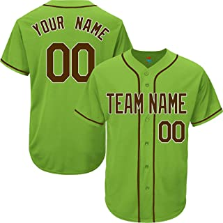 Light Green Custom Baseball Jersey for Men Women Youth Replica Embroidered Team Name & Numbers S-5XL Brown White