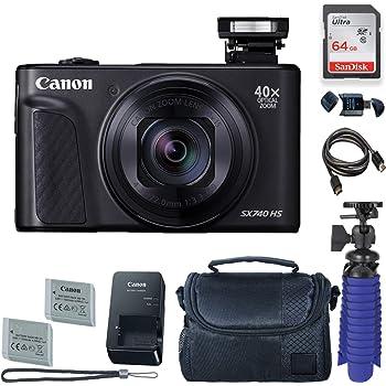 Amazon Com Canon Powershot Sx740 Hs Digital Camera Black With 64 Gb Card Premium Camera Case 2 Batteries Tripod Camera Photo