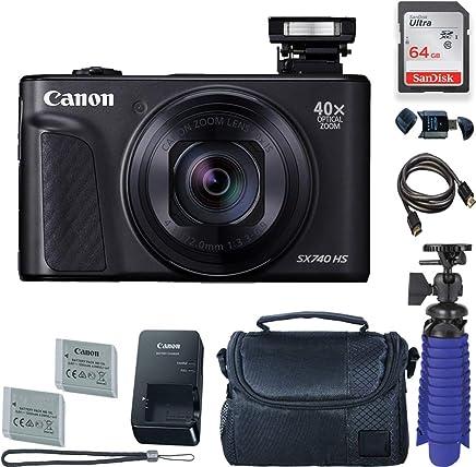 Canon PowerShot SX740 HS - Cámara digital con tarjeta de 64 GB y funda para cámara de fotos (incluye 2 pilas y trípode)