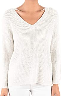 YEMAK V-Neck Long Sleeves Back Cutout Casual Loose Knit Pullover Sweater MK8144