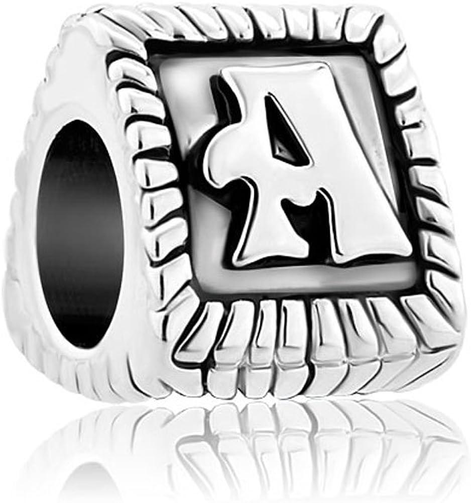 ReisJewelry Antique Initial A-Z Alphabet Letter Charms European Bead for Bracelet