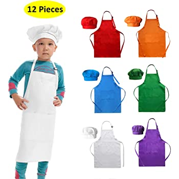 KIDS APRON AND WITH SLEEVES GIRLS BOYS CHILDRENS BAKING COOKING PAINT PINK BLUE