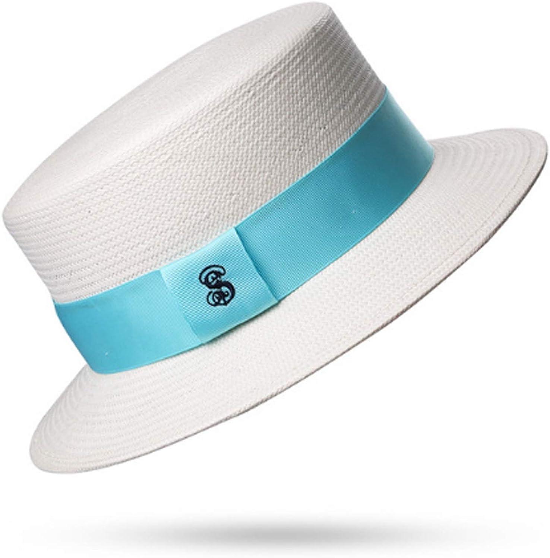 GROSSARTIG Women's SpringSummer Shade Straw Hat Beach Hat Travel Traveling Sunscreen Fashion Simple (color   White, Size   M)