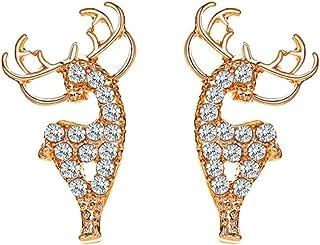 HHoo88 Elk Antler Deer Christmas Earring for Women Teen Girls Studs Ear Valentines' Day Anniversary Earpin Jewelry Gift