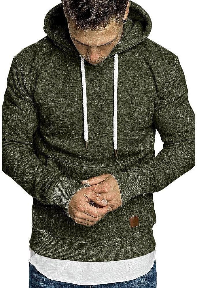 Aayomet Mens Hoodies Autumn Casual Comfy Solid Color Blend Fleece Long Sleeve Drawstring Slim Fit Tops Hoodies