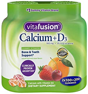 VitaFusion Calcium 500 mg Dietary Supplement Gummies Natural Fruit and Cream Flavors - 100 ct, Pack of 2