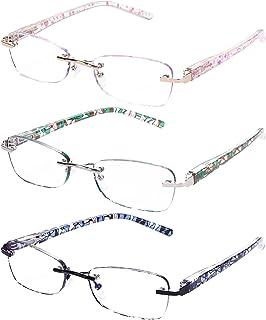 Rimless Reading Glasses For Women Blue Light Blocking Fashion Elegant Artistic Eyeglasses Spring Hinge Readers