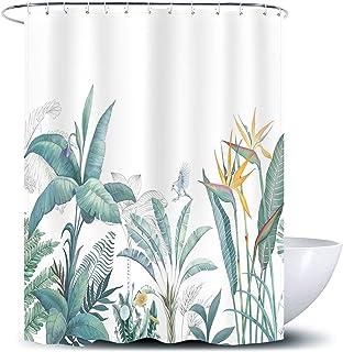 D&M Tropical Plants Shower Curtain Hawaii Jungle Green Palm Leaf Curtain for Bathroom Bathtub Floral Palm Flower Bath Curt...