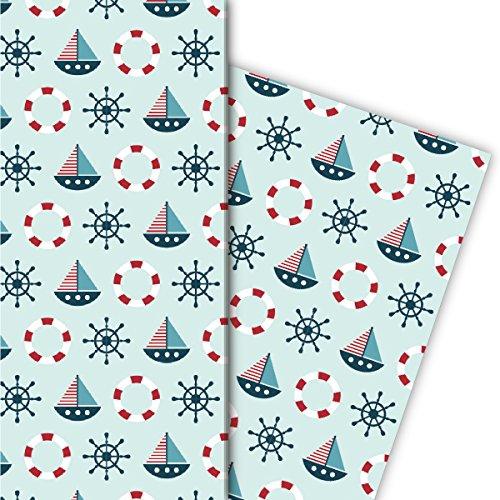 Kartenkaufrausch Leuk cadeaupapier voor kinderen voor liefdevol geschenkverpakkingen met boten, mint 4 vellen, 32 x 47,5 cm decorpapier, patroonpapier om in te pakken, designpapier om te knutselen