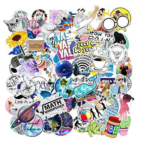 Jasion 103-Pcs Vinyl Mix Stickers Waterproof Cute Lovely Girls Teens Aesthetic Trendy Graffiti Decals for Water Bottles Cars Motorcycle Skateboard Portable Luggages Ipad Laptops