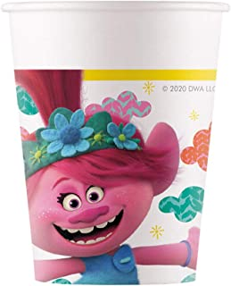 Procos Trolls 2 World Tour 92218 Paper Cups 200 ml Pack of 8 Cups Drinking Cups Birthday Theme Party