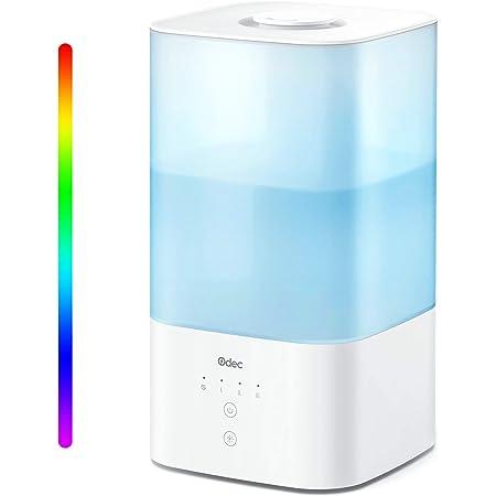 ODEC Humidificador Top Fill 2.5L con Luces LED Nocturnas de 7 Colores, Nifusor de Aceites Esenciales para Dormitorio, Control Táctil, Niebla Ajustable, Modo de Suspensión, Apagado Automático