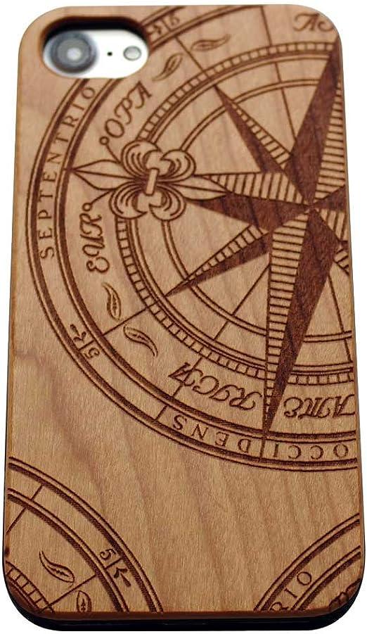 Wood iPhone 7 Coque, nautique Boussole iPhone 7 (4.7 '), nautique Compass Coque de protection pour iPhone 7 11,9 cm par Vivipow, cherry wood