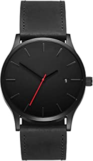 Analog Watch Leather Strap For Men - Black