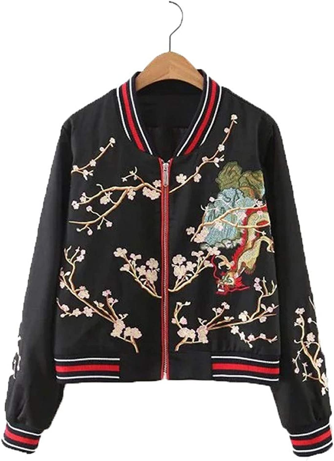 BACHDLS Women's Floral Mountain Satin Green Black Long Sleeve Embroidered Flying Jacket