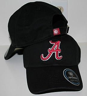 University of Alabama AL Crimson Tide Top Crew Black Unstructured 100% Cotton Adult Mens/Womens Adjustable Baseball Hat/Cap