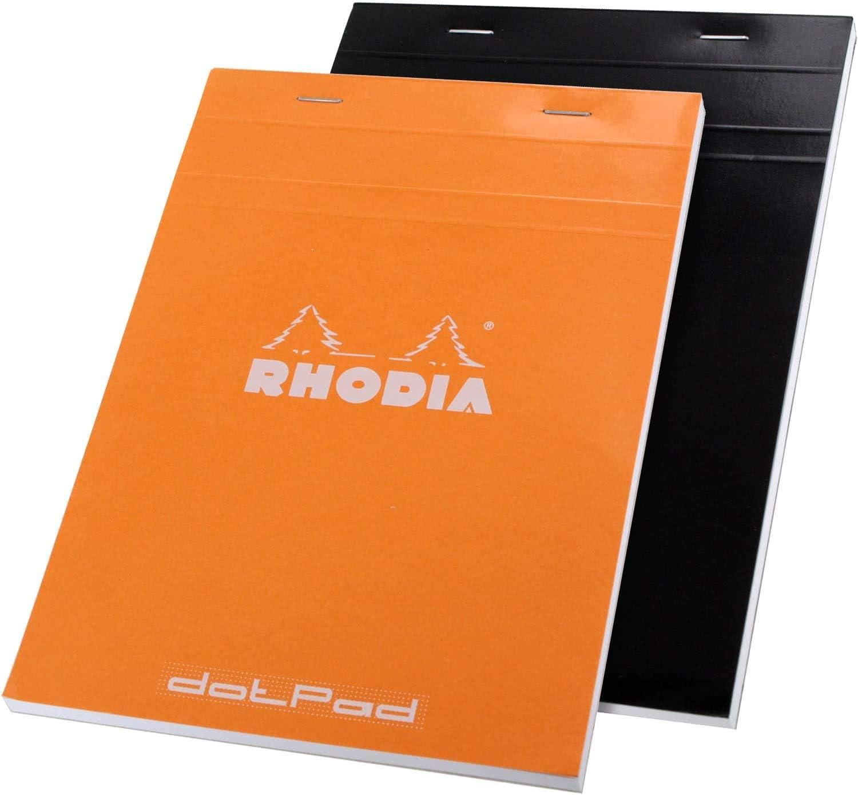 Rhodia No.16 A5 6 X 8 1/4 80 Sheet, Dot Pad,Set of two 1 Orange & 1 Black