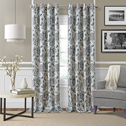 "Elrene Home Fashions Room Darkening Grommet Linen Single Panel Window Curtain Drape, 52""x84"", Blue/Taupe"