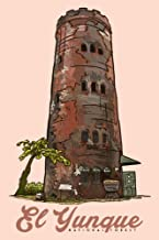 Puerto Rico - Yokahu Observation Tower - El Yunque National Forest (12x18 Art Print, Wall Decor Travel Poster)