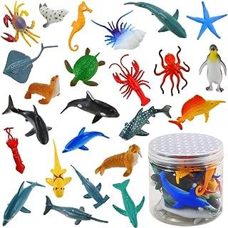 Bignc 24 Pack Mini Ocean Sea Animal Model Toys Under The Sea Life Figure Bath Toy for Child (Shark, Blue Whale, Starfish, Crab, Etc.)