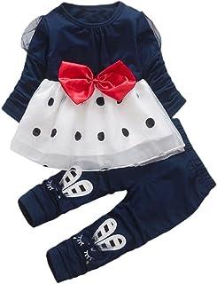Amlaiworld Baby Kleid pullis Mädchen Langarmshirt Flickwerk Punkte Tutu  Kaninchen Hose Kleinkind Bowknot warm Kleider Set,1-4 Jahren