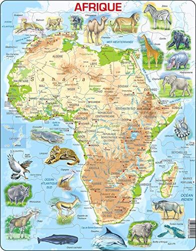 A22 Mapa físico de África, edición en Francés, Puzzle de Marco con 63 Piezas