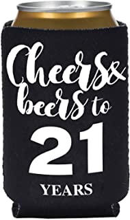 Black 21st Birthday Beer Can Coolie Koozie, 6-Pack Cheers And Beers To 21 Years Can Sleeve Covers Set, Drink Can Coolers, Party Gifts, Decorations