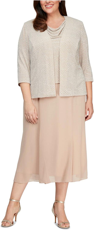 Alex Evenings Women's Plus Size Tea Length Cowl Neckline Jacket Dress