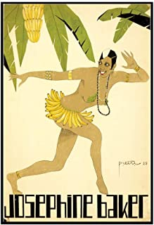 Josephine Baker: Banana Dress Vintage Poster (artist: Pietri) France c. 1928 (24x36 Framed Gallery Wrapped Stretched Canvas)