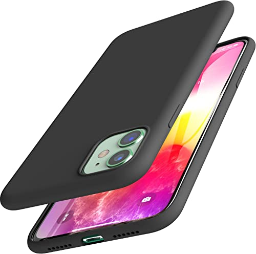 TOZO for iPhone 11 Case 6.1 Inch (2019) Liquid Silicone Gel Rubber Shockproof Shell Soft 4 Side Full Protection Cover for iPhone 11 with Black