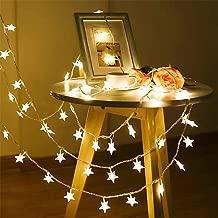 Luces de la Estrella USB Carga Cuerda Luz Tira Decoraciones lluminación de Estrellas de para Bodas, Cumpleaños, Halloween, Navidad, Habitaciones para bebés, Interiores o Exteriores, Impermeable 6m, 40 led, Color Amarillo