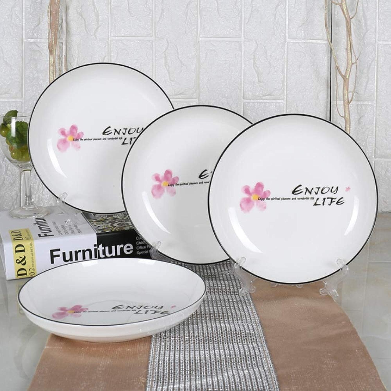 YLee Plaque en céramique européenne 8 Pouces (4 pièces) Maison Vaisselle en céramique Plateau Dessert Assiette Petit déjeuner Dessert, Fruits et Autres AliHommests,rose