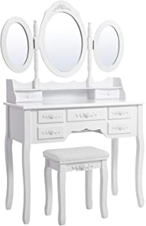 Songmics Wall-Fixed Luxurious 3 Mirrors Dressing Table Set with Stool, 7 Drawers with 2 Dividers Make-up Dresser URDT91W