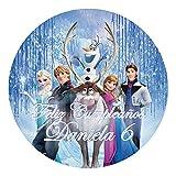 OBLEA de Papel de azúcar Personalizada, 19 cm, diseño de Disney Frozen Bosque