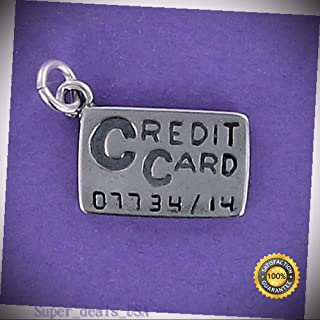 Credit Card Charm Sterling Silver for Bracelet Charge It Shopping Buy Purchase DIY Handmade Ornament Crafts