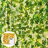 YQing 12 Piezas Hiedra Artificial Hoja Guirnalda Plantas Vid Colgante Guirnalda de Boda Hiedra Inglesa con luz LED Hogar Cocina Jardín Oficina Boda Boda Decoración de Pared