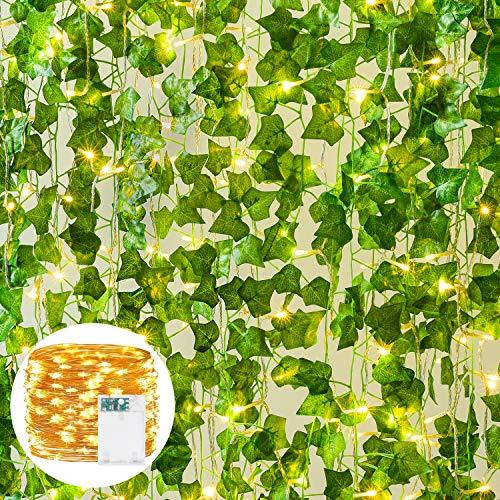YQing 12 Stück Künstliche Efeu Girlande, Künstliches Hängend Efeu mit 90 LED-Licht, für Zuhause, Küche, Garten, Büro, Hochzeit, Dekoration