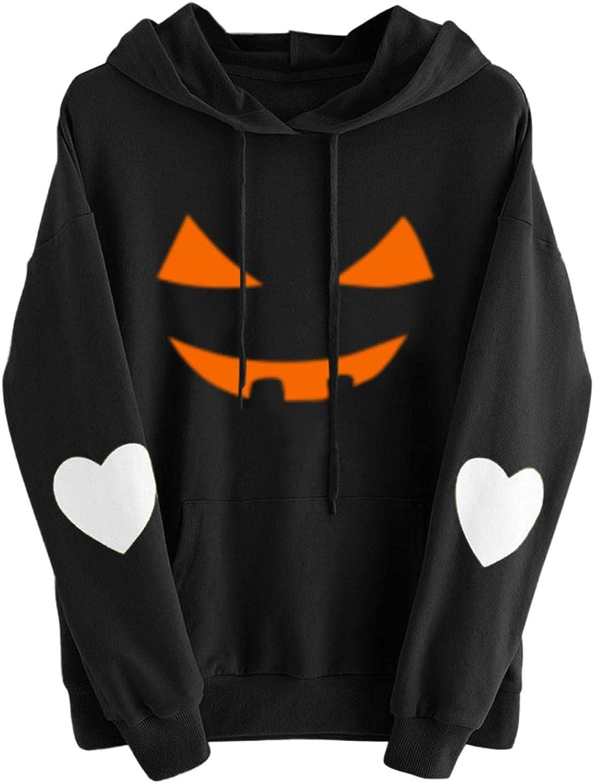 Halloween Hoodies for Women, Pumpkin Print Drawstring Pullover Hooded Sweatshirts with Pocket