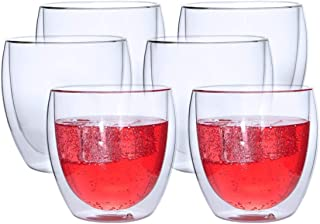 Best-Encounter 6 Pieces Double Wall Glasses Coffee Cup,Medium 250Ml, غير معروف, transparent