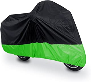 uxcell XL 180T Rain Dust Protector Black Green Scooter Motorcycle Cover 96