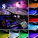 LivTee 12V Car LED Strip Light4pcs 48 LED Multicolor Music Car Interior Lights Under Dash Lighting Waterproof Kit with Sound Active Function and Wireless Remote Control, Car Charger Included