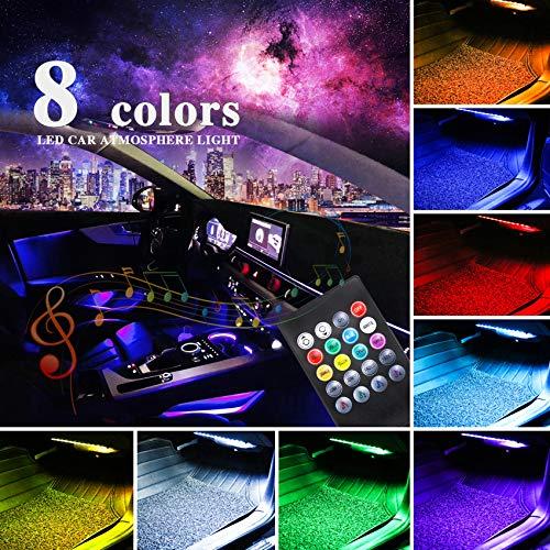 LivTee - Tira de luces LED para coche de 12 V, 48 luces LED multicolor para interior de coche, iluminación bajo el salpicadero, kit impermeable con función de sonido activo y control remoto inalámbrico, cargador de coche incluido