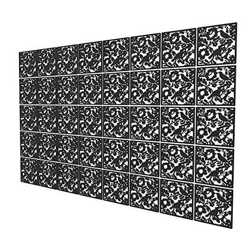 Tabiques Separadores De Ambientes de 40 Piezas - 323.5x202cm - Negro Panel Divisor Ambient Pájaro Biombos Decorativos para El Baño, La Habitación De Los Niños, La Guardería - Perchero De Ventana