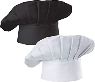 Hyzrz Chef Hat Set of 2 Adult Adjustable Elastic Baker Kitchen Cooking Chef Cap, White, Black