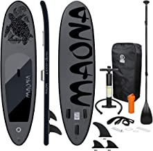 ECD Germany Opblaasbare Stand Up Paddle Board Maona | 308 x 76 x 10 cm | Zwart | PVC | tot 120 kg | Pump Carrying Bag Acce...