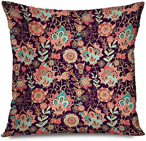 New-WWorld-Shop Kissenbezug Platz Indische Blumenmuster Oriental Batik Schönheit Seide Indonesien Paisley China Blume Iranischer Teppich Kissenbezug Kissenbezug
